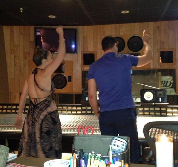 Jennifer Lopez and Robin Thicke in the recording studio