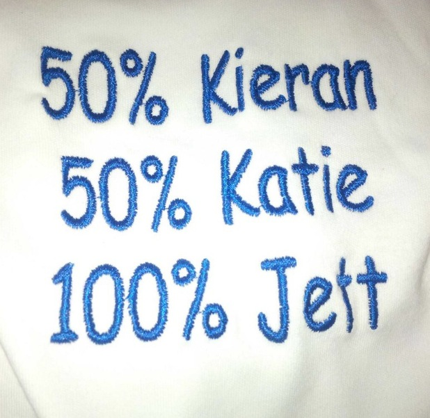 Katie Price shows off son Jett's babygro - 19 September 2013
