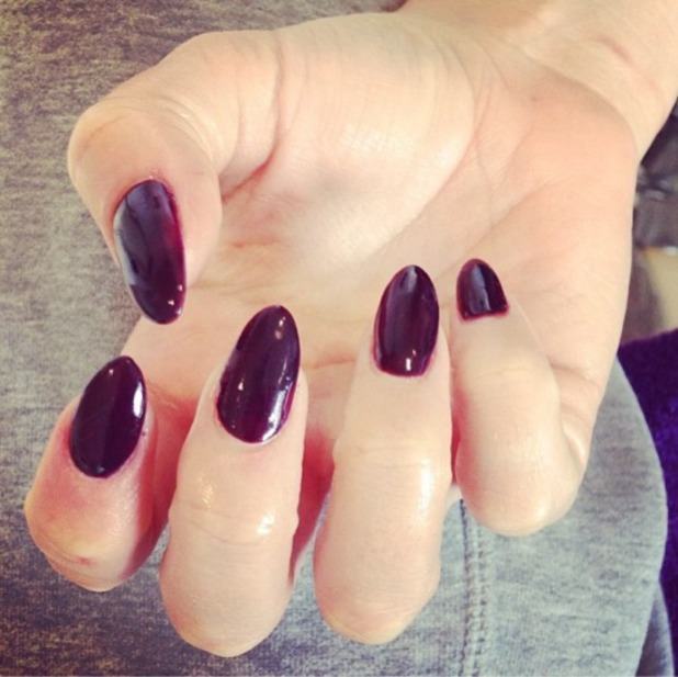 Kimberley Walsh shows off long, berry-red nails, Instagram, 19 September 2013