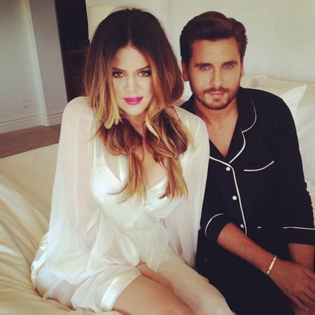 Khloe Kardashian Instagram shocking pink lipstick with Scott Disick