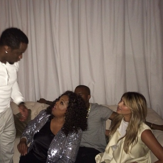 "Kim Kardashian posts picture with Kanye West, P Diddy and Oprah Winfrey on Twitter with the message ""oh no big deal"", Sept 22 2013"