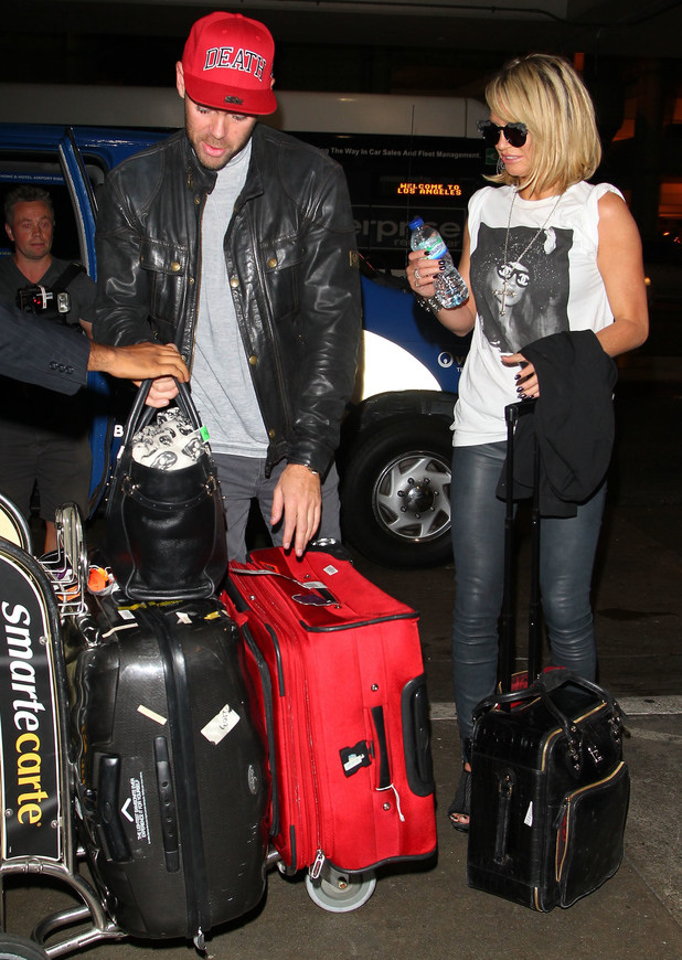 Sarah Harding and boyfriend Mark Foster arrive at LAX Airport on a flight from London - 17 September 2013