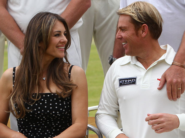 Elizabeth Hurley and Shane Warne host a cricket match between an Australian 11 and an English 11 in aid of the Shane Warne Foundation and Hop Skip and Jump during Cricket for Kids Day at Cirencester Cricket Club, 2013
