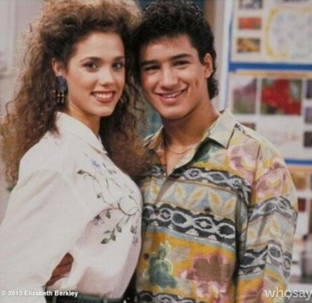 Elizabeth Berkley and Mario Lopez as Jessie Spano and AC Slater on Saved By The Bell