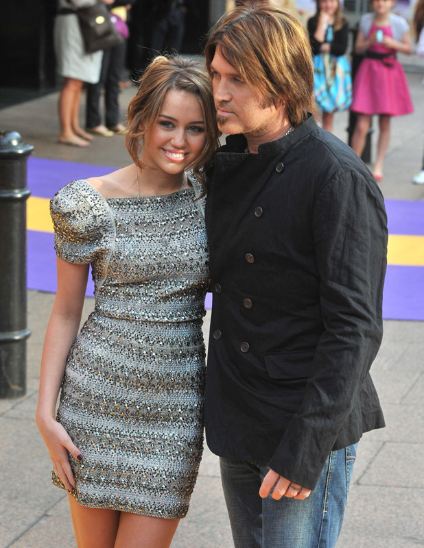 Miley Cyrus and Billy Ray Cyrus, Hannah Montana UK premiere held at the Odeon West End - Arrivals. London, England - 23.04.09