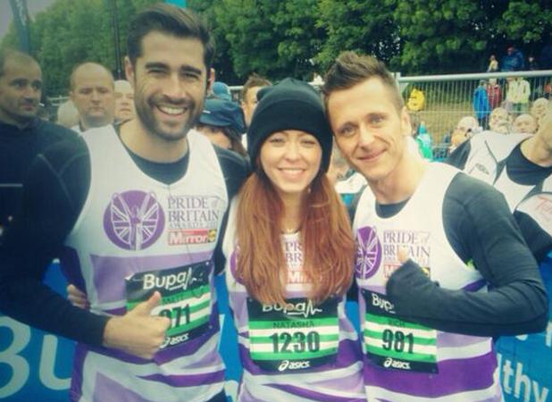 Matt Johnson, Natasha Hamilton and Ritchie Neville after running the Great North Run