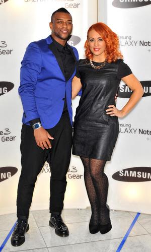 Samsung Galaxy Gear and Galaxy Note 3 UK launch held at the Hotel ME - Arrivals. Oritse Williams, Aj Azari Credit : Daniel Deme/WENN.com