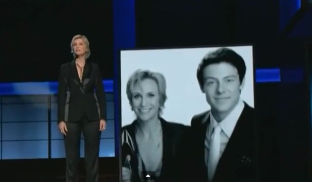 The 65th Primetime Emmy Awards held at the Nokia Theatre. As seen on CBS HD. Jane Lynch - Cory Monteith on screen Credit :Supplied by WENN.com