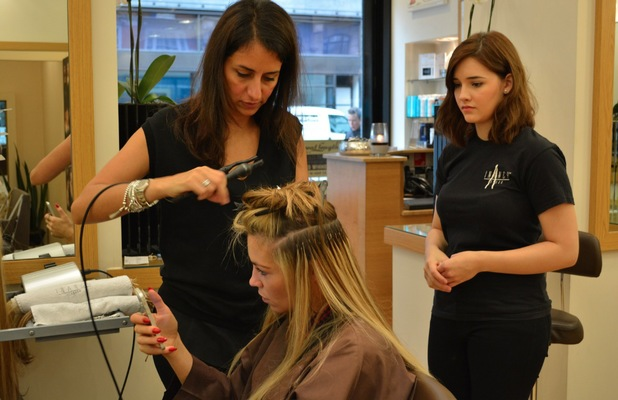 Abbey Clancy at Inanch London hair salon getting new extensions - 22 september