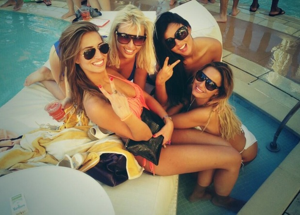 TOWIE's Lucy Mecklenburgh, Ferne McCann, Sam Faiers and Billie Faiers relax by the pool in Las Vegas - 25 September 2013