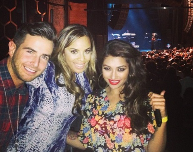 Vanessa White, Rochelle Humes and Aaron Renfree at Brandy concert, 24 September 2013