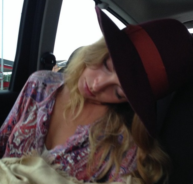 MIllie Mackintosh asleep - captured by husband Professor Green - 22 Sept 2013