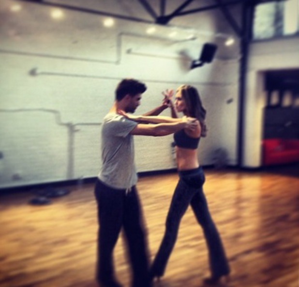 Abbey Clancy and Aljaz Skorjanec during rehearsal for Strictly Come Dancing, September 2013