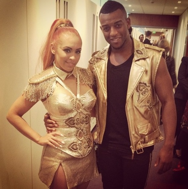 Oritse Williams and AJ Azari backstage after performing on Stepping Out 21 September 2012