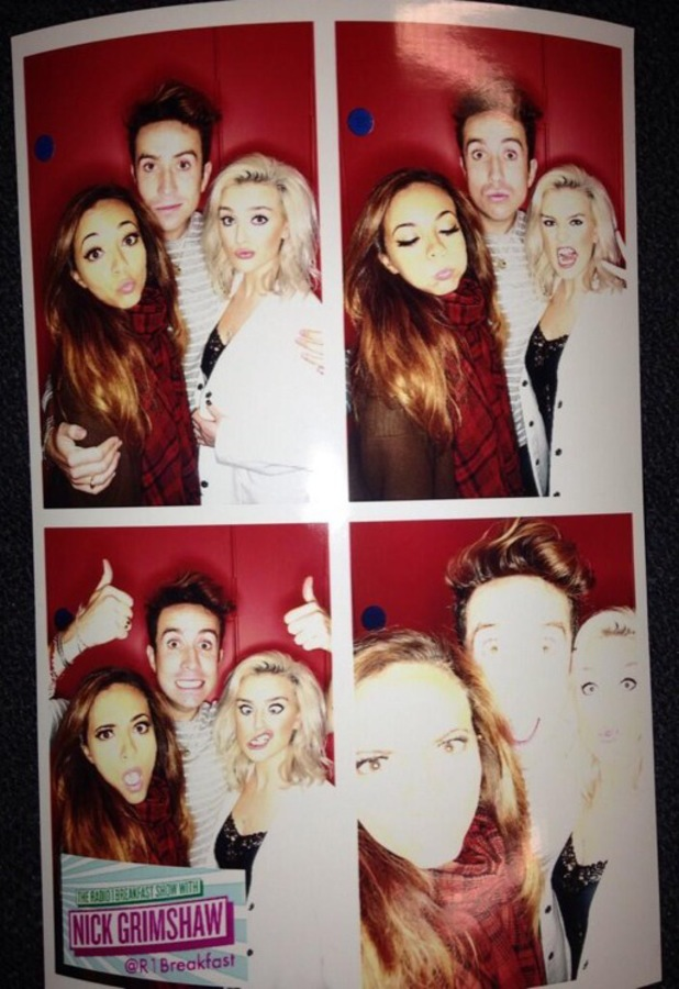 Jade Thirlwall, Perrie Edwards, Nick Grimshaw at Radio 1 Studios, 23 September - Twitter picture