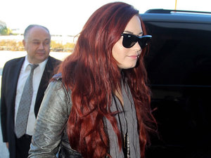 Demi Lovato arriving at LAX Airport for a flight Los Angeles, California - 02.02.12