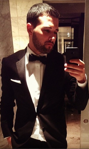 TOWIE's Ricky Rayment in a tuxedo heading out to the wrap party.