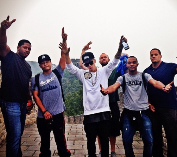 Justin Bieber and crew at the Great Wall Of China - 30.9.2013