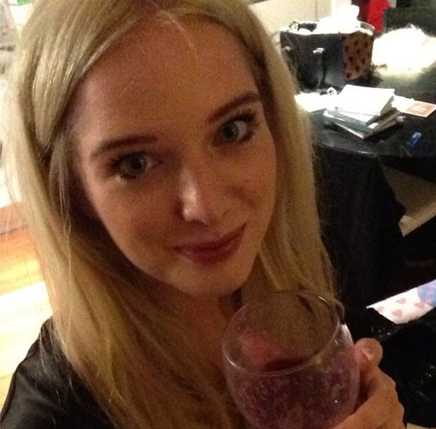 Helen Flanagan drinks smoothie is dressing gown - 1.10.2013