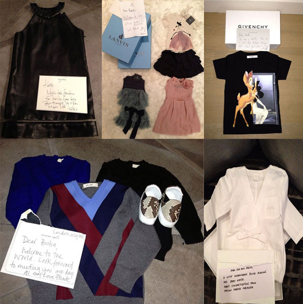 Kim Kardashian shares pictures of the designer gear sent to daughter North West, 1 October 2013