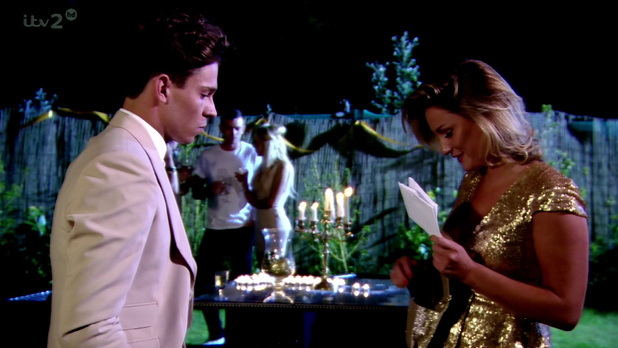 The Only Way Is Essex. Shown on ITV2 HD Sam Faiers talks to Joey Essex about there relationship and hands him a letter.