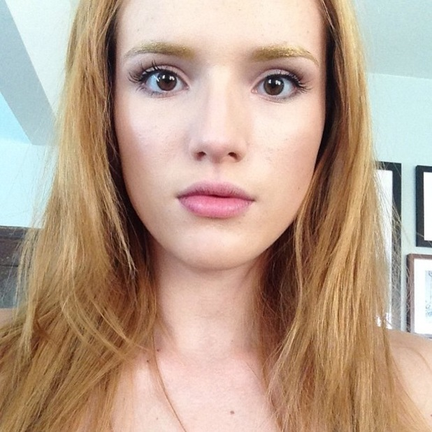 Bella Thorne with gold eyebrows - Instagram, 7 October 2013