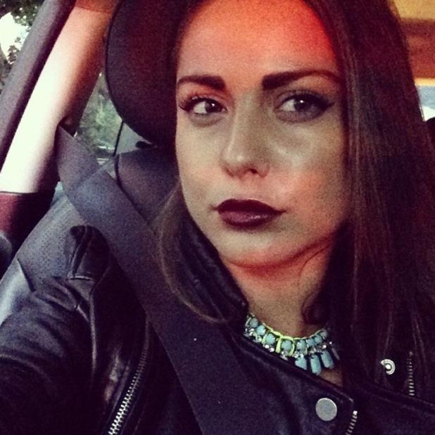 Louise Thompson Instagram vampy purple lips - 10 October 2013