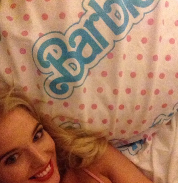 Helen Flanagan goes to bed with Barbie duvet cover - 8 October 2013