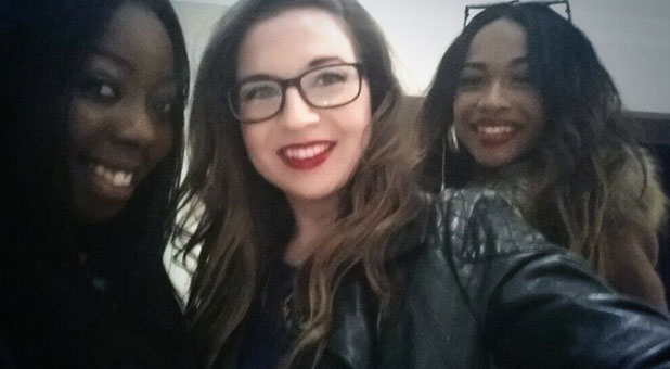 Abi Alton, Tamera Foster and Hannah Barrett from X Factor pose for a selfie, 9 October 2013