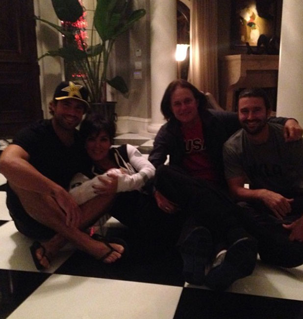 Kris and Bruce Jenner pose with Brody and Brandon Jenner, 10 October 2013