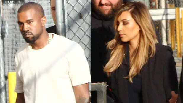 Kim Kardashian and Kanye West arrive at Jimmy Kimmel Live - 9 October 2013