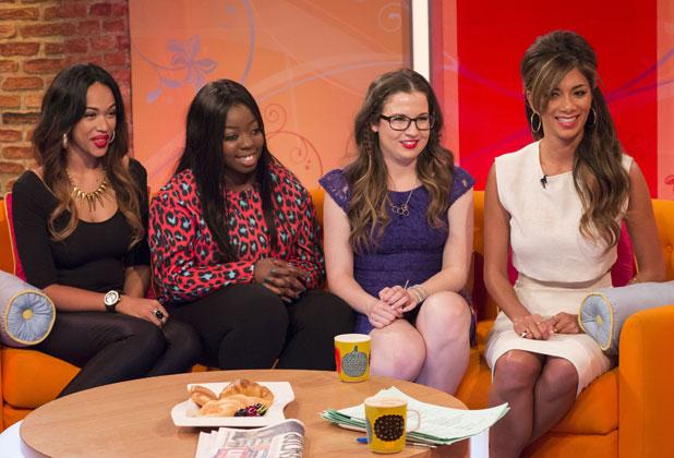 'Lorraine Live' TV Programme, London, Britain - 09 Oct 2013 Tamera Foster, Hannah Barrett and Abi Alton with Nicole Scherzinger