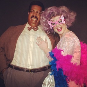 Kelly Osbourne shares pictures of herself dressed as Dame Edna Everage posing with a model from The Nutty Professor, Oct 20 2013