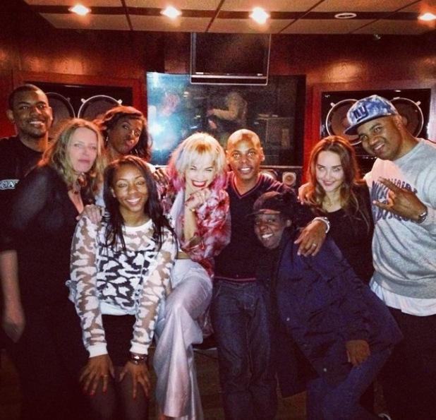Rita Ora in the music studio with her team - 16.10.2013