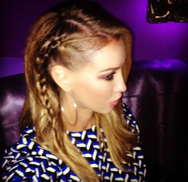 Lauren Pope shows off Cara Delevingne inspired side braids, Instagram, 14 October 2013