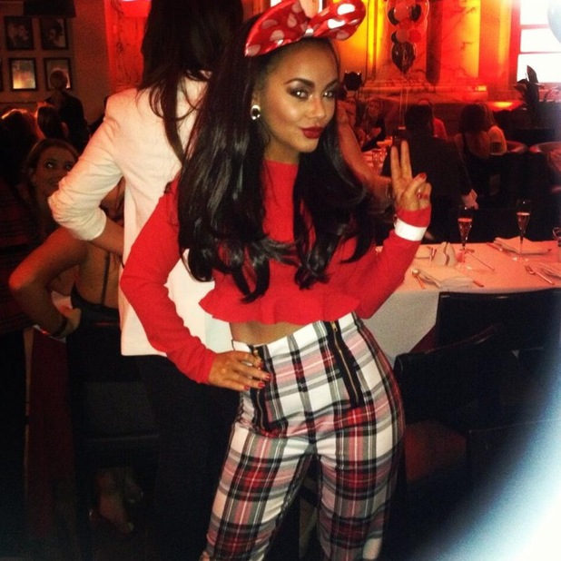 Chelsee Healey Twitter picture in Manchester wearing Minnie Mouse ears - 13 October 2013