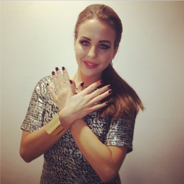 Lydia Bright shows off her Broadway nails before going off to Miss Selfridge party, 17 October 2013