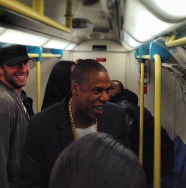 Jay-Z, Timbaland, Chris Martin spotted on the London Underground - 12.10.2013