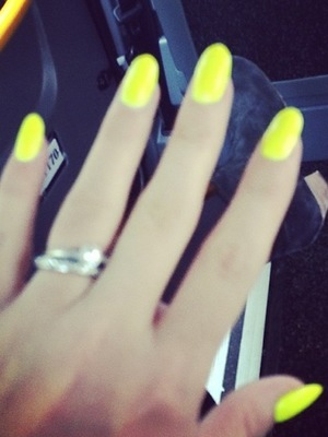Lily Cooper Instagram neon yellow nails - 21 October 2013