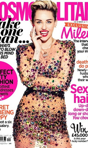Miley Cyrus is the cover star for the December issue of Cosmopolitan, 2013