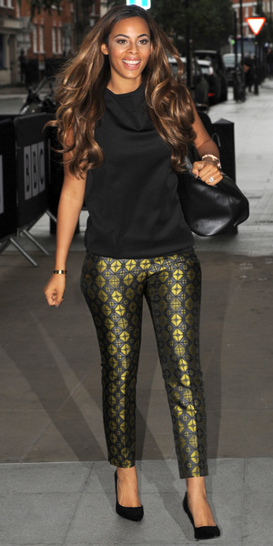 Rochelle Humes at the Radio 1 studios in London, 22 October 2013