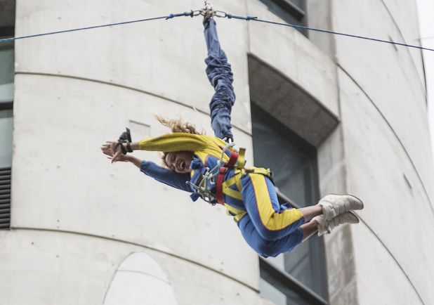 Beyonce completes freefall bungee style jump off the Skytower, Auckland, New Zealand - 19 Oct 2013