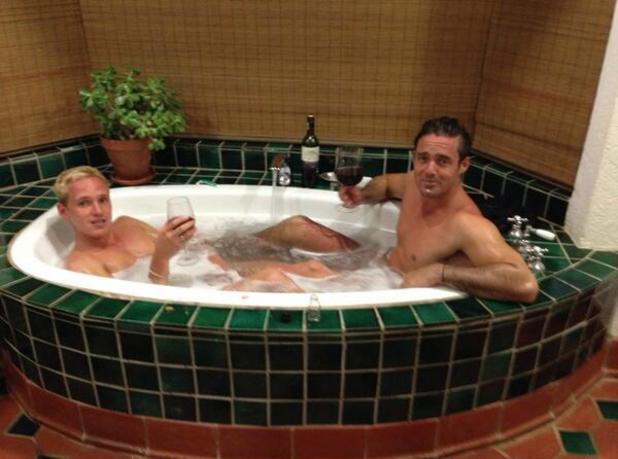 Made In Chelsea's Jamie Laing and Spencer Matthews pictured having a bath - 20 October 2013
