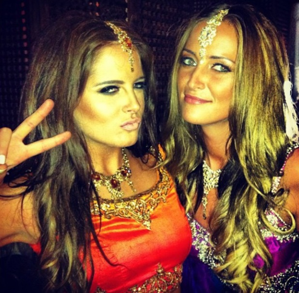 Binky Felstead and Francesca Newman-Young in indian saris and clothing for Made In Chelsea filming - October 2013