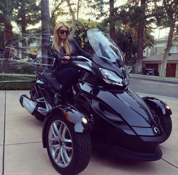 Paris Hilton on a Can-Am Spyder motorcycle - 23.10.2013