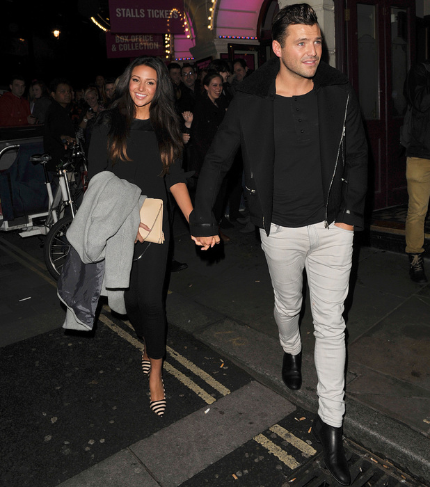Mark Wright and Michelle Keegan leaving the theatre after going to see Dirty Dancing, Oct 26 2013