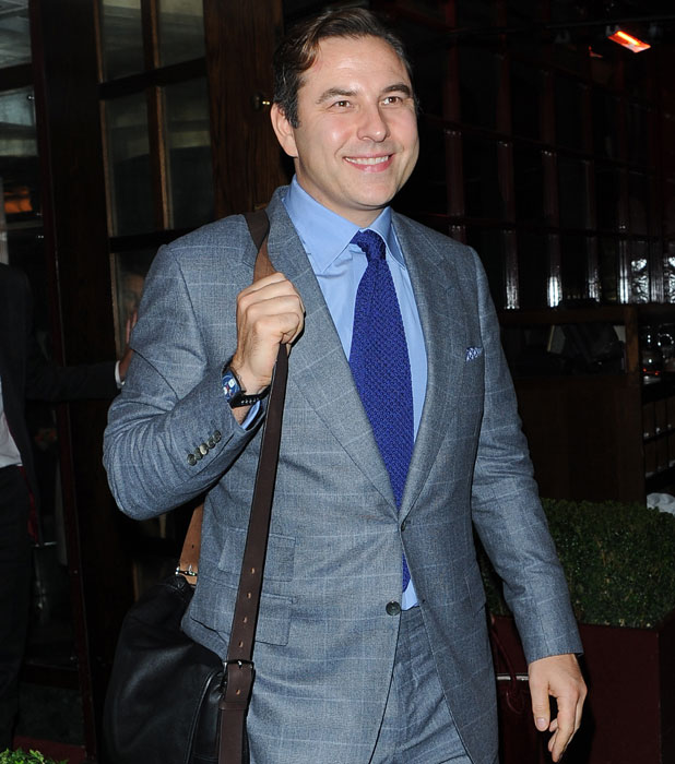 Phillip Schofield, Declan Donnelly, Ant McPartlin, David Walliams and Holly Willoughby enjoy dinner after watching David perform in A Midsummer Night's Dream, 22 October