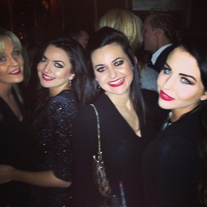 Lydia Bright shows off her new dark hair while out for cocktails with the girls, 29 October 2013