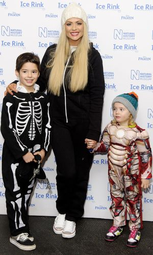 Natural History Museum Ice Rink launch, London, Britain - 30 Oct 2013 Nicola McLean with her sons Rocky and Striker.