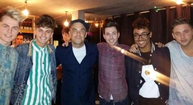 Robbie Williams with X Factor contestant Kingsland Road during Olly Murs' Football Night Out